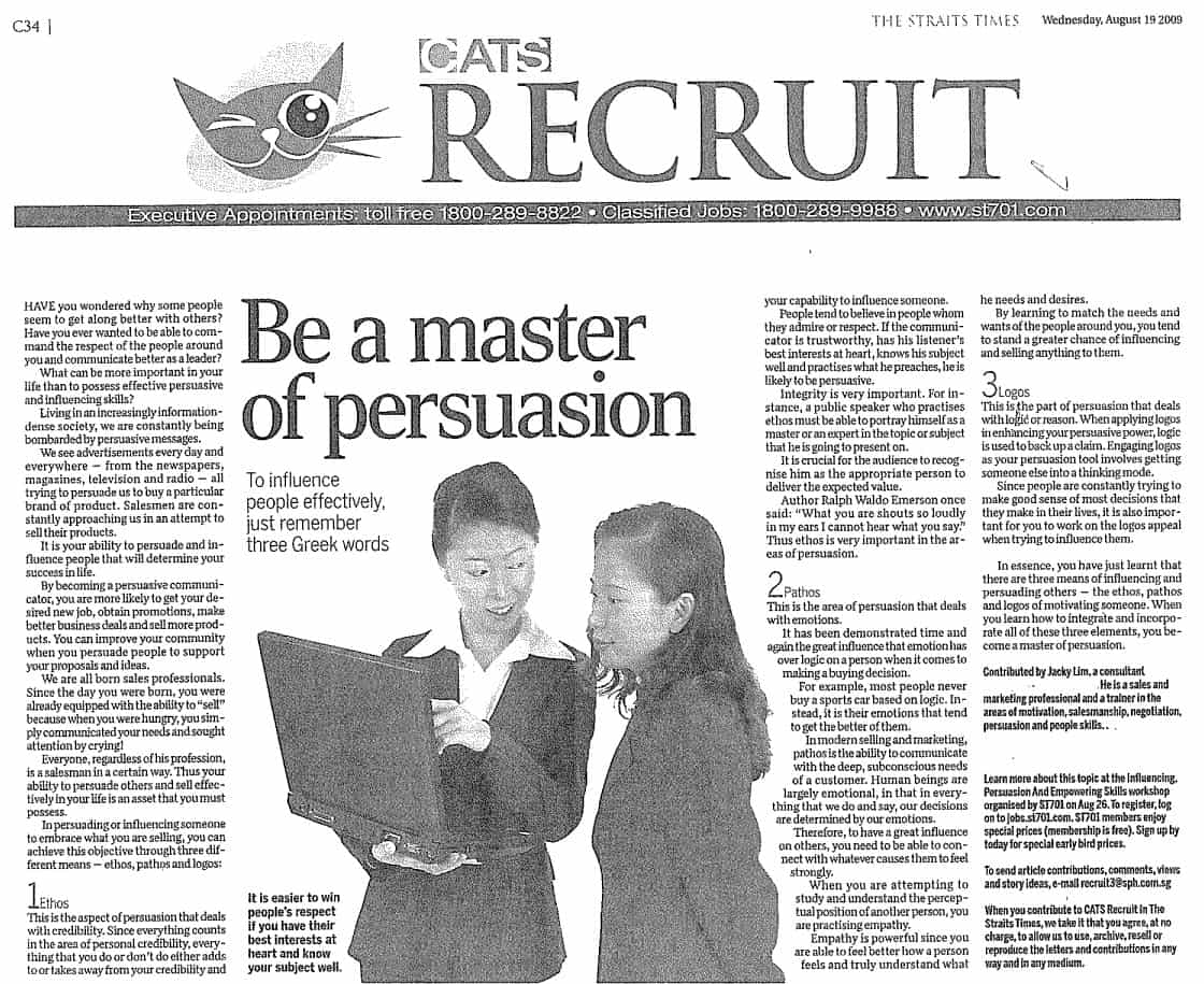 Be Master of Persuasion - Straits Times Article