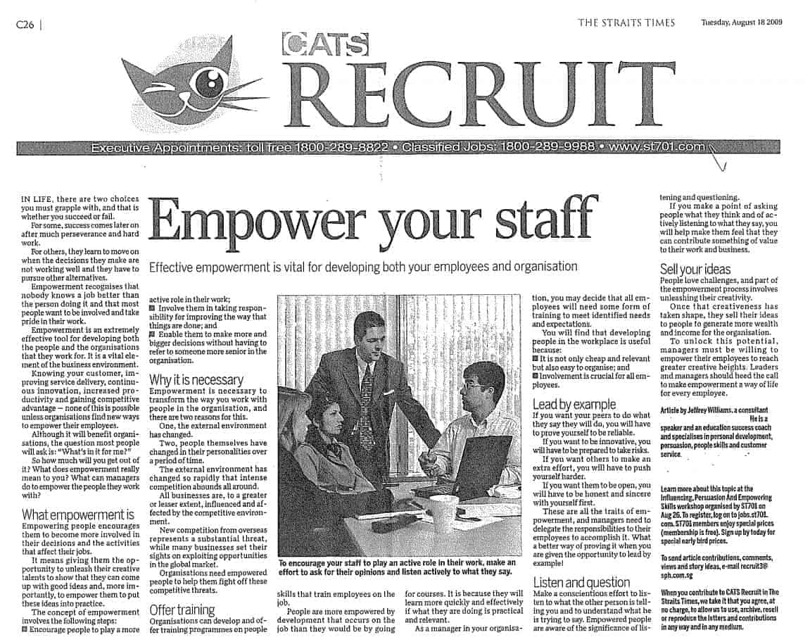 Effective Empowerment - Straits Times Article