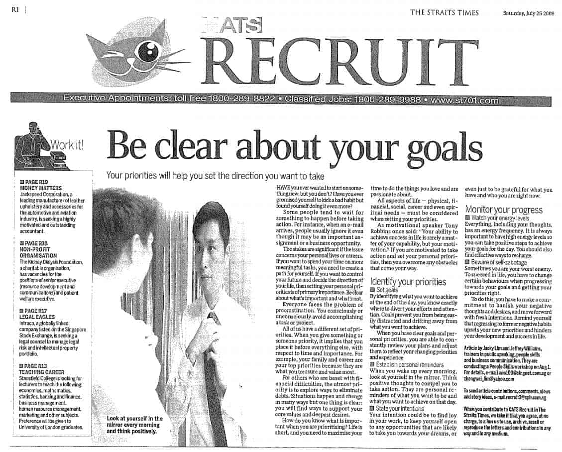 How to be SMART About Your Goals - Straits Times Article
