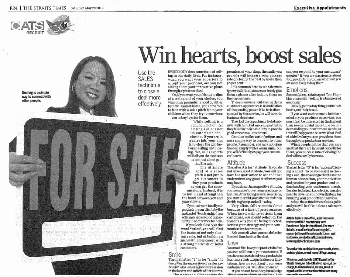 Straits Times - Win Hearts Boost Sales
