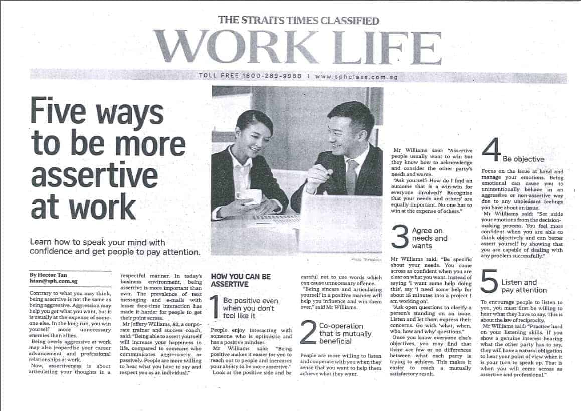 Five to be more assertive at work - Straits Times Article